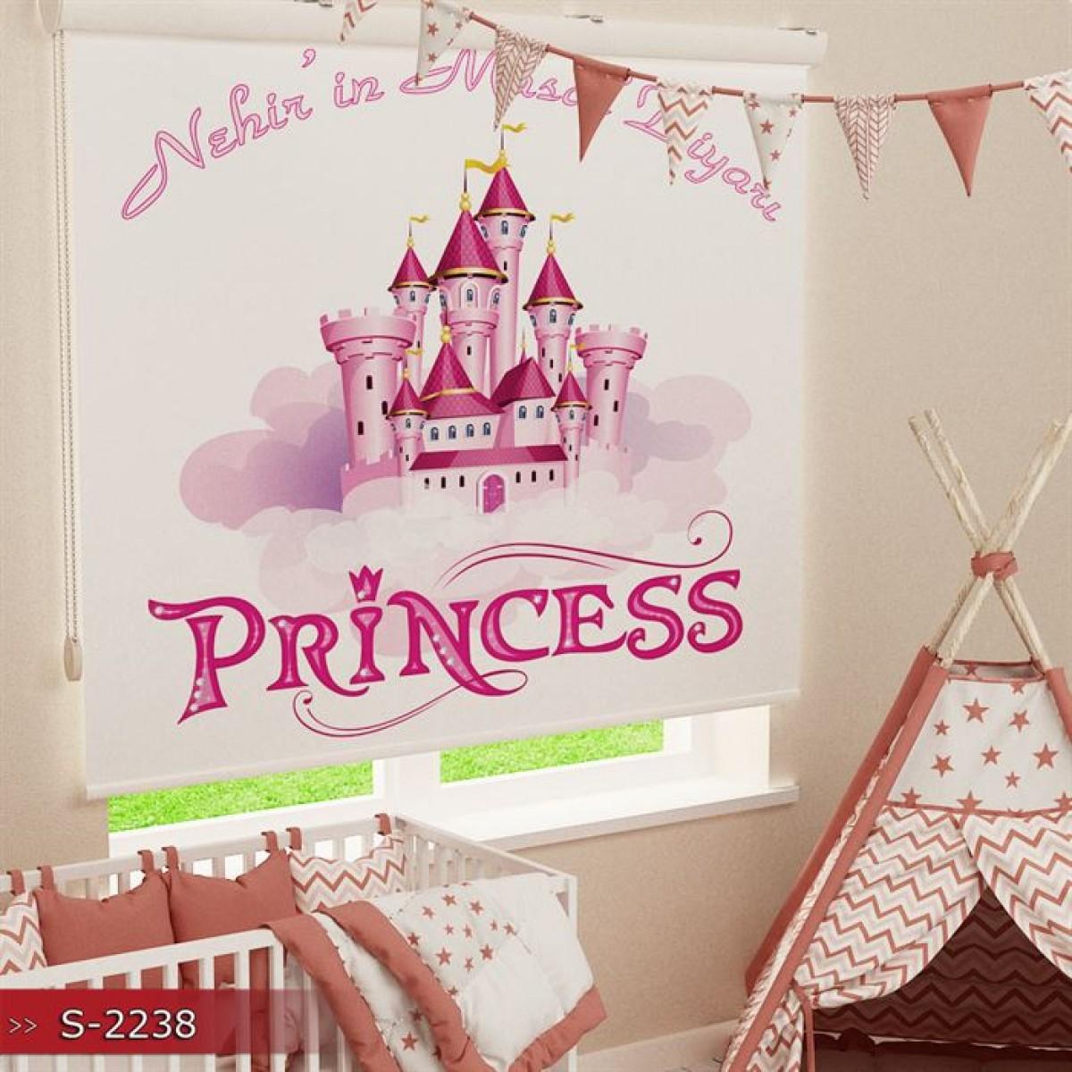 Kız Çocuk Odası - Prensesin Şatosu Baskılı Stor Perde - (GÜNEŞLİK)