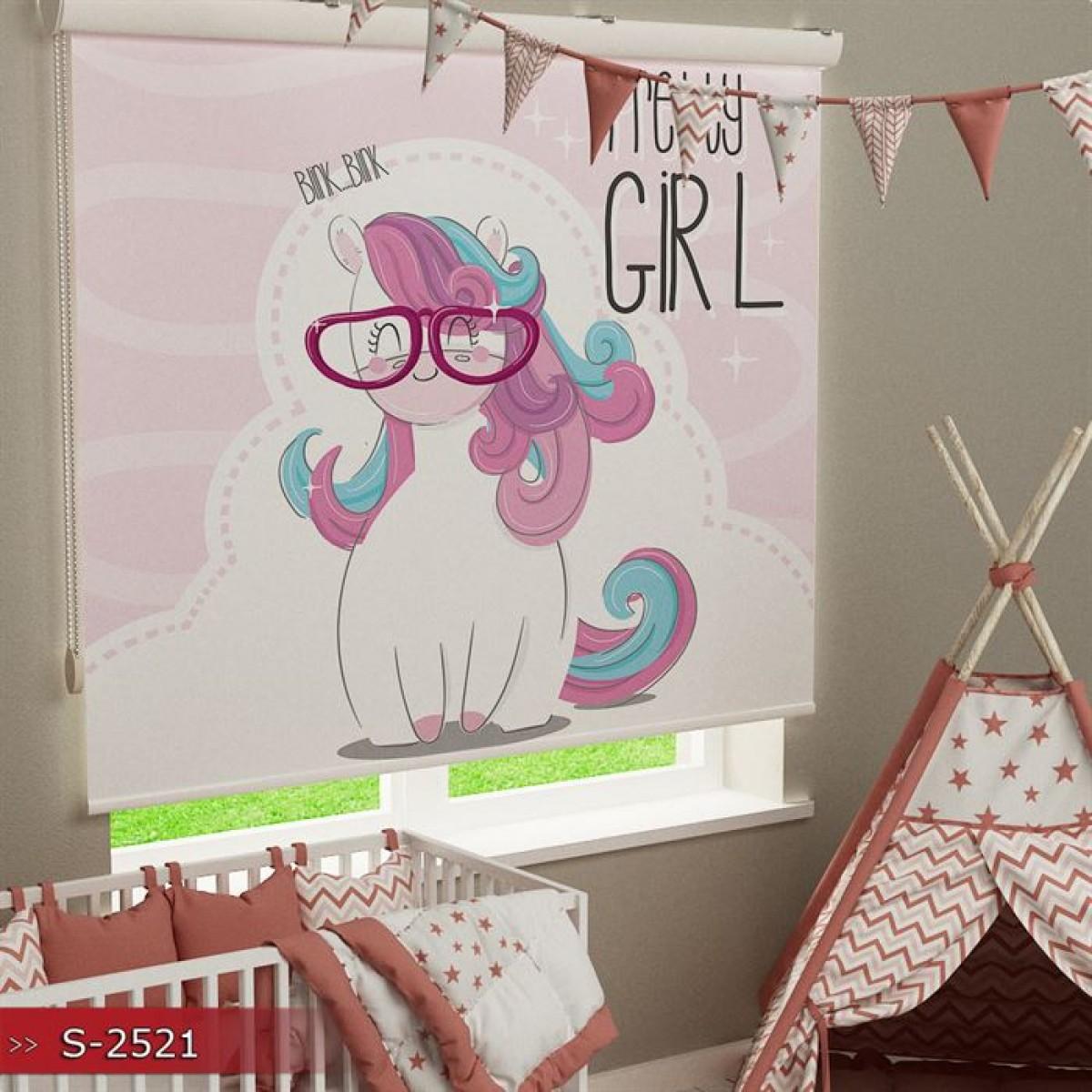 Kız Çocuk Odası - Unicorn Baskılı Stor Perde - (GÜNEŞLİK)