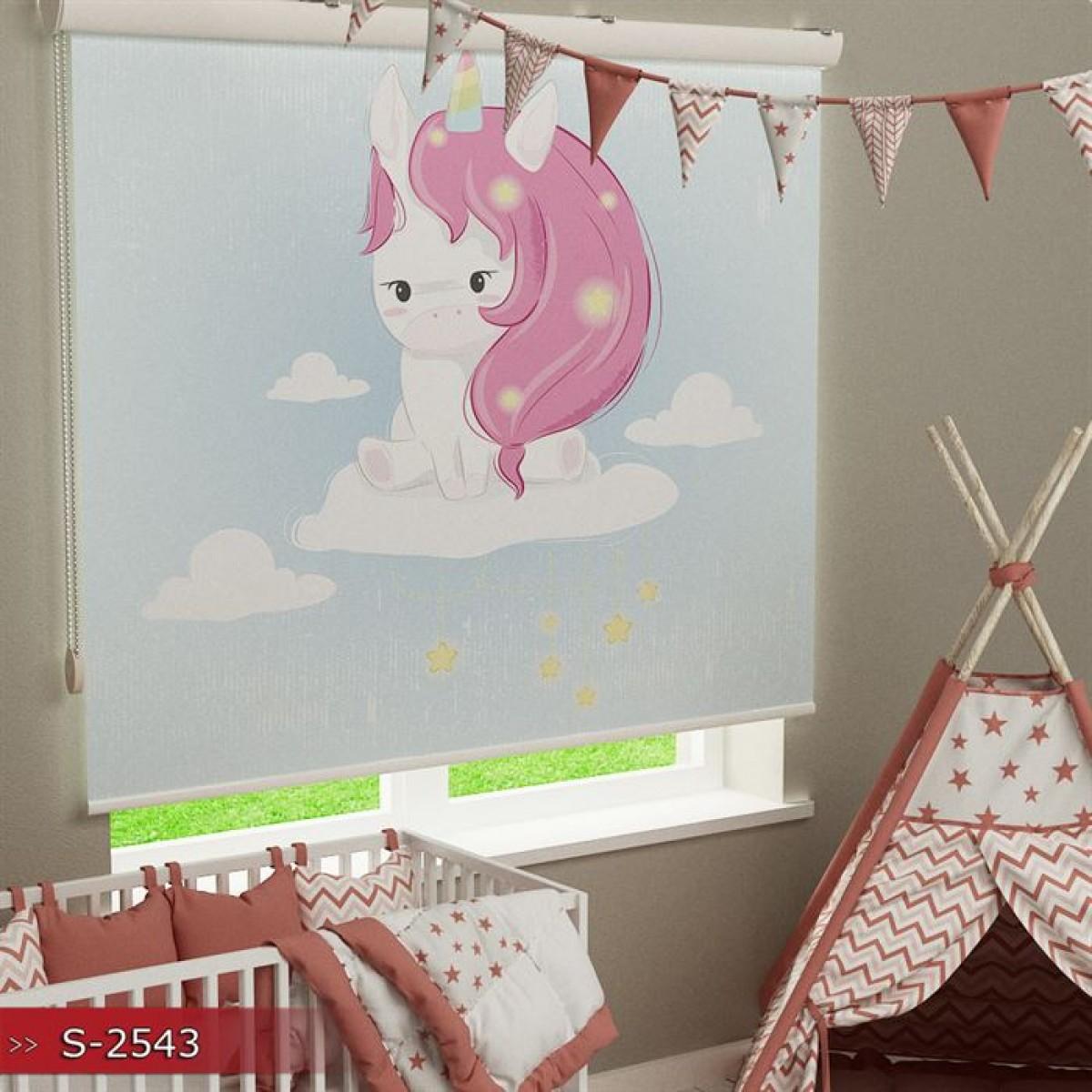 Bebek Odası - Unicorn Baskılı Stor Perde - (GÜNEŞLİK)