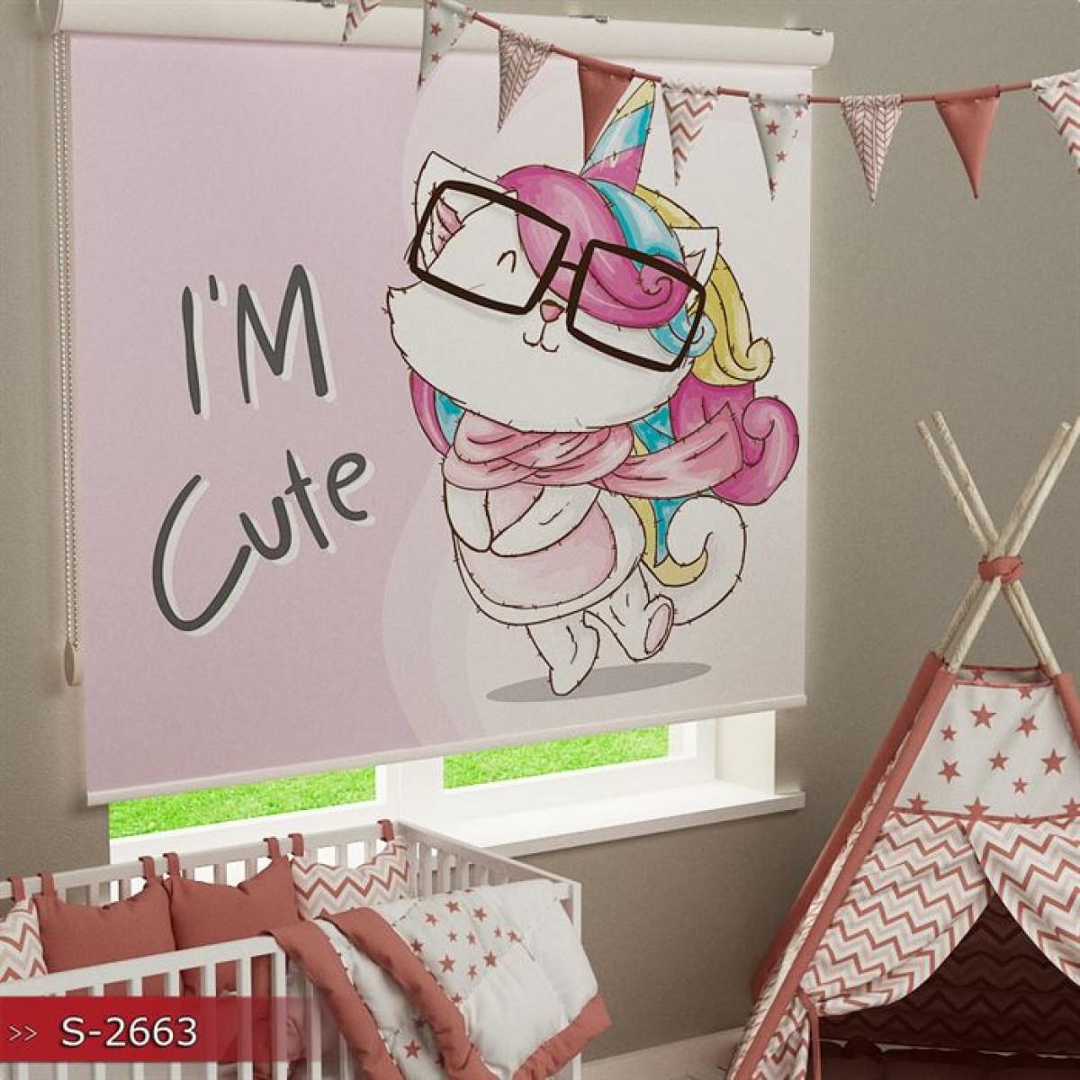 Bebek Odası - I'm Cute  Baskılı Stor Perde - (GÜNEŞLİK)