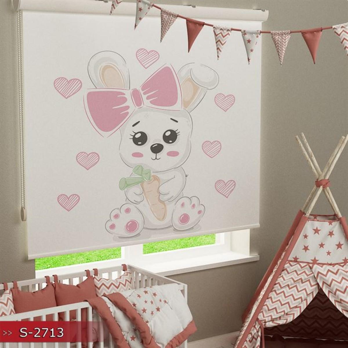 Bebek Odası - Sevimli Tavşancık Baskılı Stor Perde - (GÜNEŞLİK)