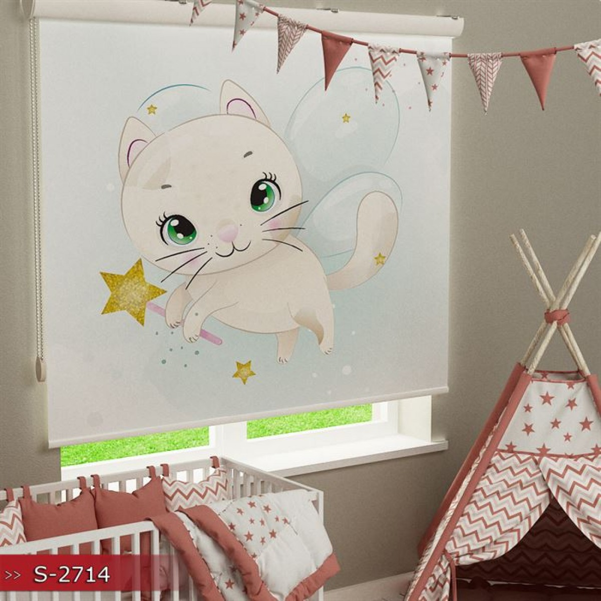 Bebek Odası - Uçan Kedi Baskılı Stor Perde - (GÜNEŞLİK)