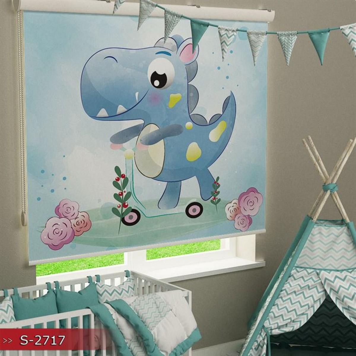 Bebek Odası - Sevimli Dinazor Baskılı Stor Perde - (GÜNEŞLİK)