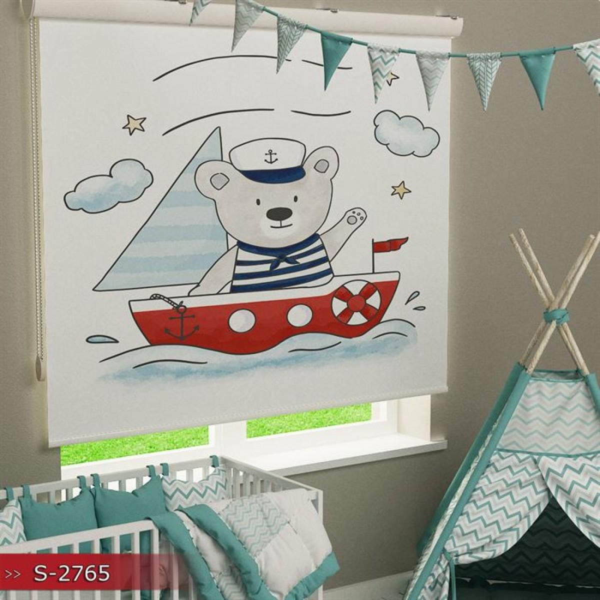 Erkek Çocuk Odası - Denizci Baskılı Stor Perde - (GÜNEŞLİK)