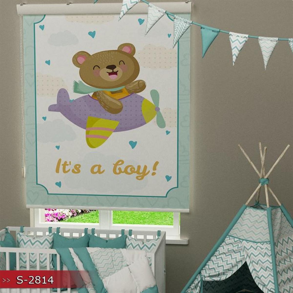 Bebek Odası - Uçan Ayıcık Baskılı Stor Perde - (GÜNEŞLİK)