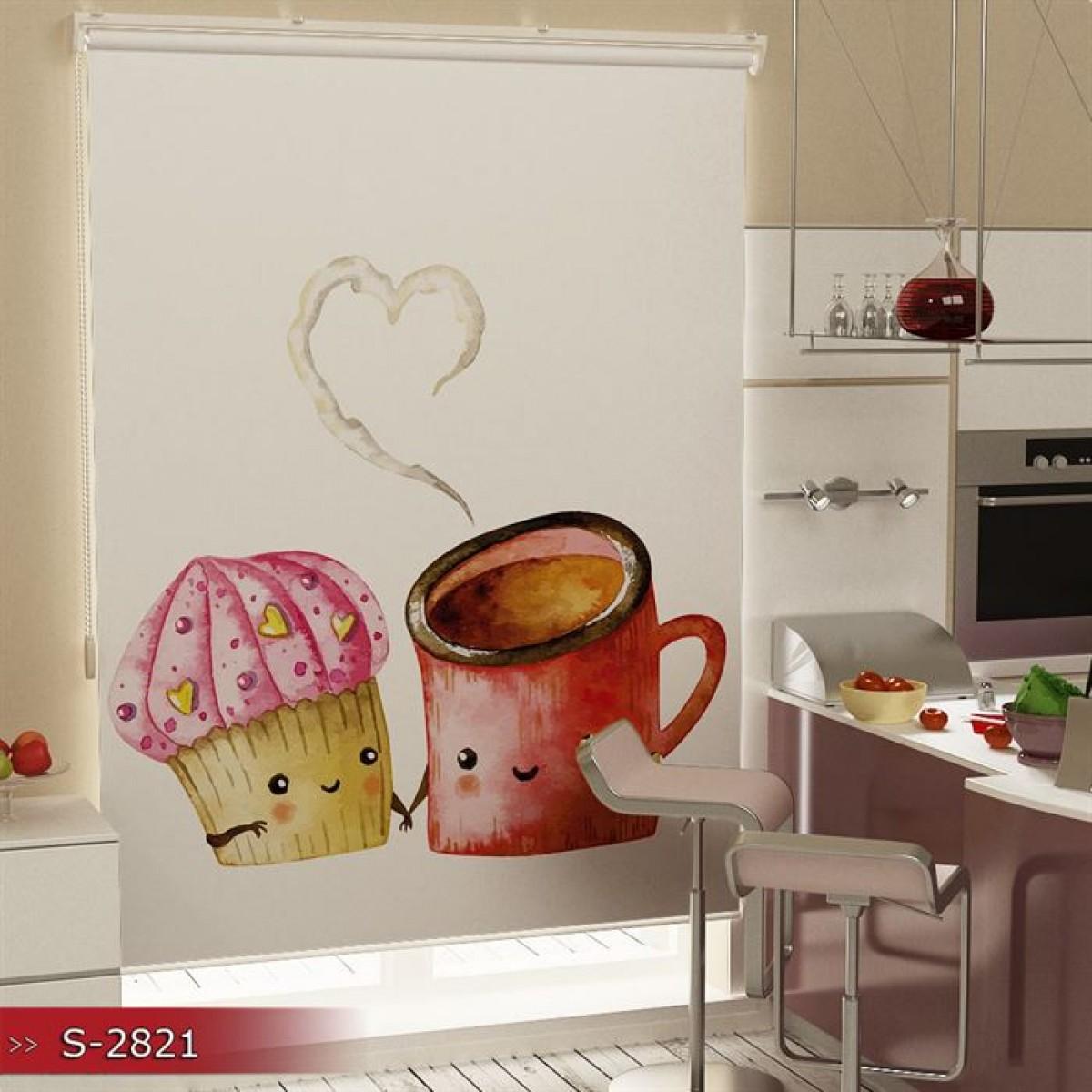Mutfak - Pasta ve Çay Baskılı Stor Perde - (GÜNEŞLİK)