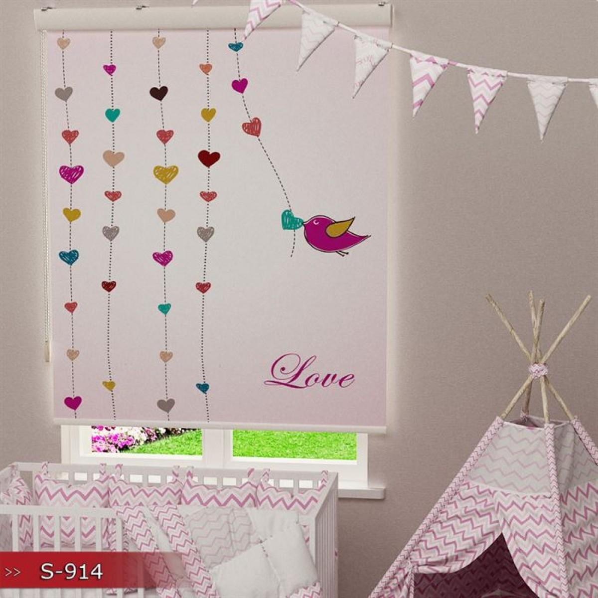 Bebek Odası - Kalpler ve Kuş Baskılı Stor Perde - (GÜNEŞLİK)