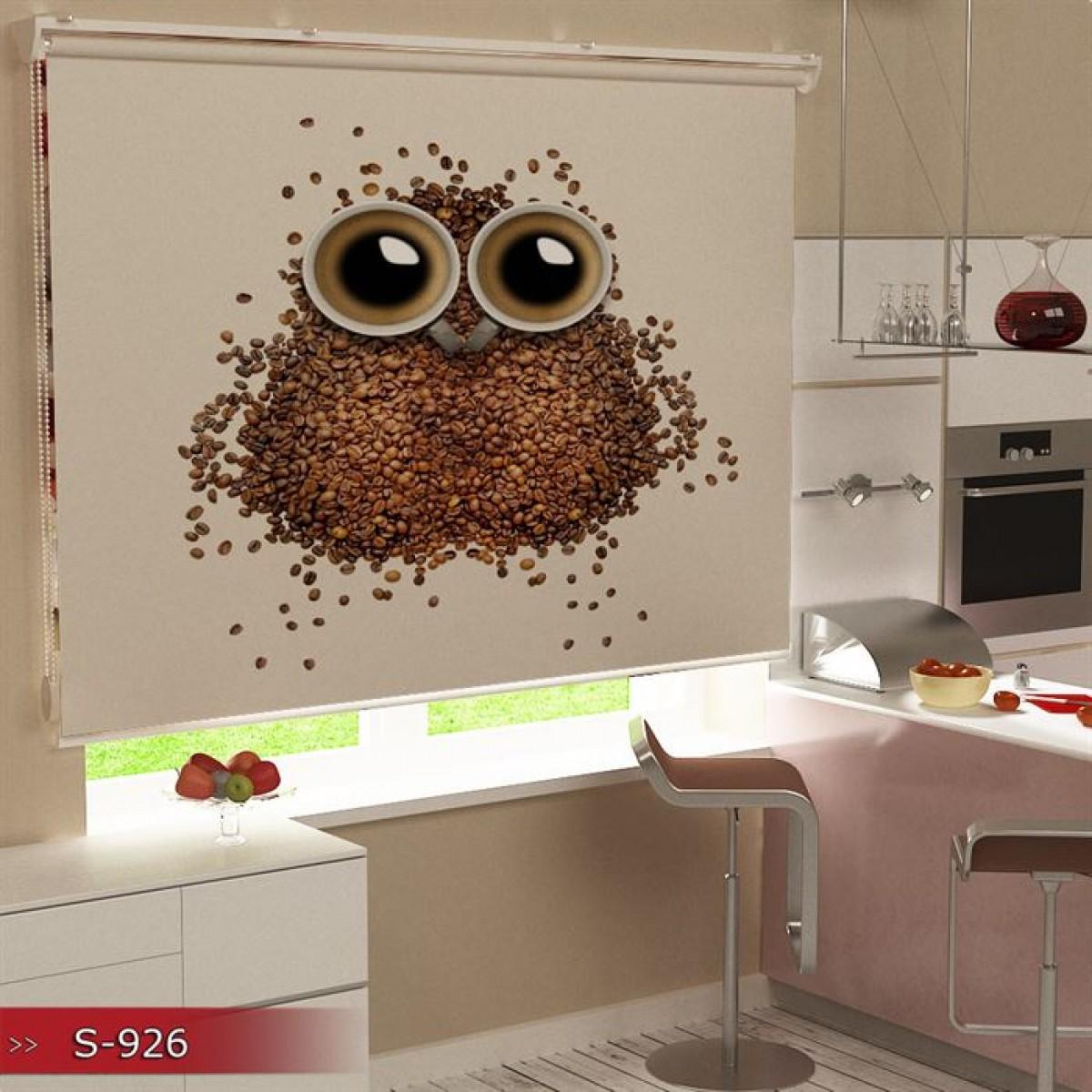 Mutfak - Baykuş ve Kahveler Baskılı Stor Perde - (GÜNEŞLİK)