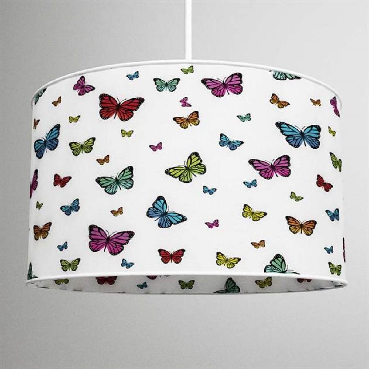 Renkli Kelebekler Baskılı Avize